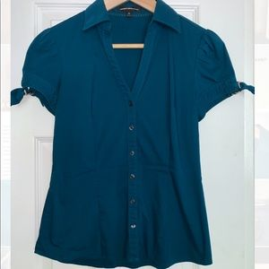 Express Design Studio fitted button up shirt teal